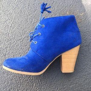 Royal blue tassel heeled booties